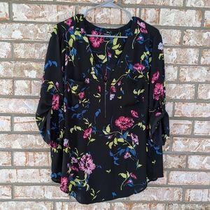 Torrid Black Floral Zip Front Popover Blouse XXL
